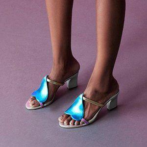 New Zvelle Sherin Metallic Gold Heart Sandal Heels